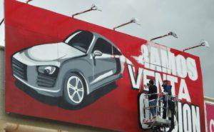 Decoración valla de taller en Madrid