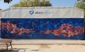 Decoración exterior en gasolinera de Madrid